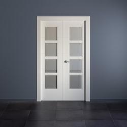 Bloco de porta interior dupla HOLANDA BRANCA COM VIDRO (72.5+72.5)X203CM DIREITA