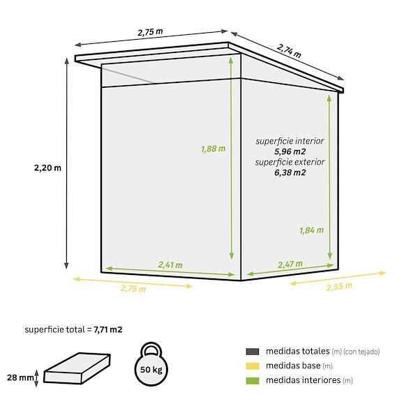 KUTA AXESS 2.75X2.55M ÁREA ÚTIL 5.96M²